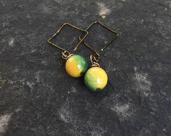Yellow and Green Brazilian Agate and Vintaj brass Square Hoops   Green Earrings Boho Jewelry  Yellow Earrings Hand made