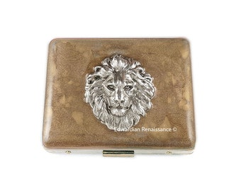 Lion Head Large Weekly Pill Box with Mirror  Inlaid in Hand Painted Gold Enamel Safari Inspired Custom Colors and Personalized Options