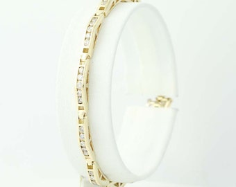 "Diamond Link Bracelet 6 1/2"" - 14k Yellow Gold Round Cut 1.50ctw N9711"
