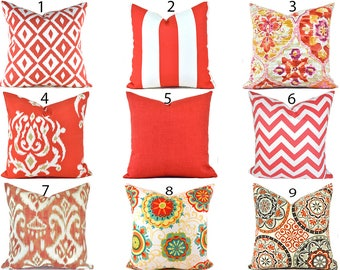 Indoor Outdoor Pillow Covers ANY SIZE Decorative Pillows Outdoor Pillows Orange Pillows Coral Pillows You Choose