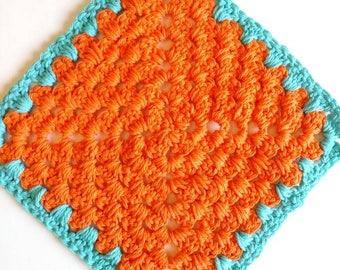 Trivet orange blue retro 70s inspired Pot Holder crochet seventies Trivet housewarming gift kitchen dining decor home and living