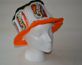 Recycled Crush Orange crocheted soda can hat