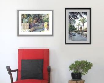 Set of 2 Landscape Prints, Scenery Watercolor Paintings, Israeli Art, Palm Tree Print, Set of 2 Countryside Paintings, Aquarelle Set of 2