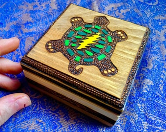 GRATEFUL DEAD TURTLE Lightning Bolt Wood Burned Wooden Box