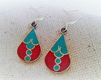 Ethnic earrings turquoise coral Nepal Tibet