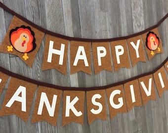 Felt Thanksgiving Banner-Happy Thanksgiving Banner-Thanksgiving Decoration-Thanksgiving Decor-Happy Thanksgiving Decoration-Turkey Banner