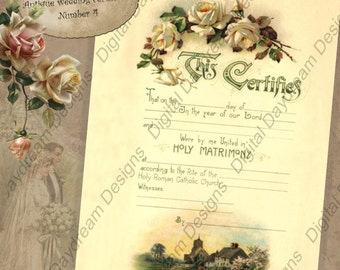 Wedding Shower Gift Printable Wedding Certificate Marriage Certificate Instant Download No 4 Vintage Victorian Wedding DIY Wedding Keepsake