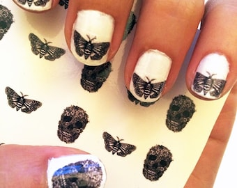 Nail Decals Skull and Moth. Great gift for nail art lovers