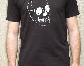 T-shirt noir 100% coton sérigraphie Crane dent en or