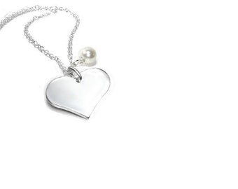 Sterling Silver Heart Pendant   ,  Gift For Her , Romantic Jewelry , Sterling Silver Chain , Swarovski Pearl