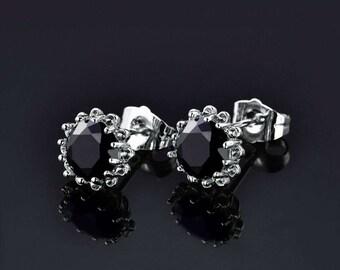 Round cut 10 kt white gold Stud Black Diamond Earrings 2.0 CT