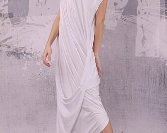 White loose maxi dress with very short sleeves, plus size dress, oversized tunic dress, long tunic dress, white caftan,kaftan,  - UM-028-VL
