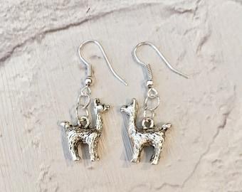 Llama Earrings, Silver Llama Jewellery, Alpaca Earrings, Animal Earrings, Llamas, Llama Charms, Llama Gifts, Alpaca Gifts, Alpaca Charms,