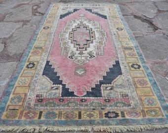 Oushak Rug, Turkish Carpet Rug, Anatolian Area Rug, Vintage Pink Turkish Rug, Holbien Carpet, Anatolian Carpet Rug, Oushak Carpet, 4'7x8'6