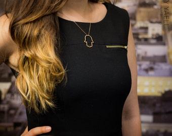 Hamsa necklace, hamsa hand necklace, lucky charm, evil eye necklace, hand of fatima, gift under 50, dainty necklace, everyday necklace