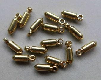 200pcs Solid Raw Brass Bullet Charm 10mm x 3mm - F157