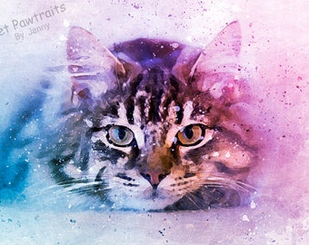 Cat watercolour painting, pet portraits, Cat Lover Gift, Digital cat painting, cat drawing, pet portrait, Pet Loss Gift, Custom Fathers day
