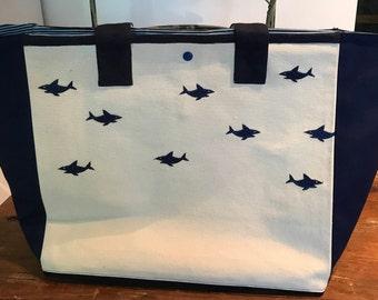 Tote Beach Tote Navy Blue Beach Bag Shark Beach Tote Personal Canvas Shark Tote Navy Blue Shark Tote Navy Tote Personal Beach ToteShark Tote