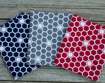 3 Piece Honeycomb Fat Quarter Fabric Pack - Navy, Red, and Gray Fabric Bundle - Quilting Precut - 100% Cotton