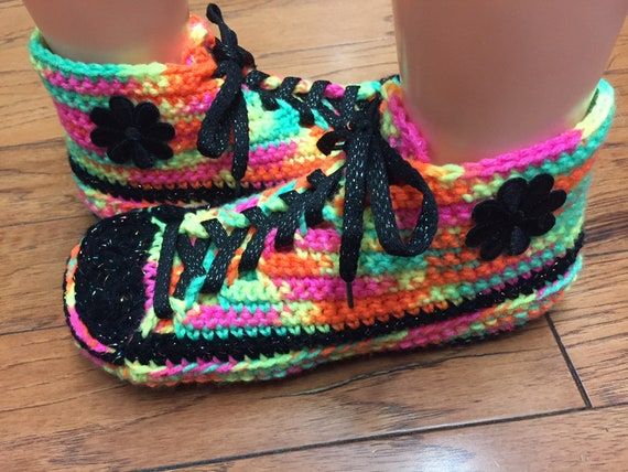 slippers rainbow neon crocheted Womens shoes crochet slippers slippers 10 flower sneaker shoes tennis Crocheted slippers sneakers tennis 8 Pxw60AqnzF