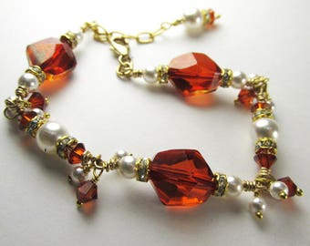 Swarovski Red Magma Cosmic Crystal and White Pearl Small 6.5 Inch Adjustable Bracelet on 14k Gold Fill