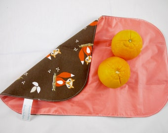 Ecofriendly lunch bag, wrapping for your lunch, snack. Reusable, recyclable. Snack bag, sandwich bag, take away. Fox. Orange, brown