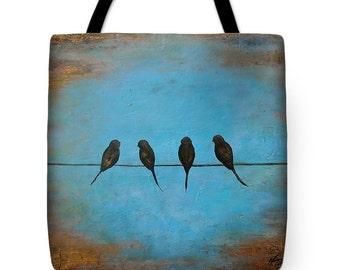 birds on a wire tote bag, bird purse, modern art tote, original painting by Nancy Quiaoit at NancyQart