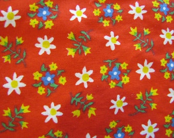 VTG Red Calico, Red, Calico, Fabric, Cotton, Floral, Flower, 1990's, Decorator Weight, Bright