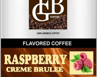 Raspberry Creme Brulee flavored coffee, reminiscent to delicious ripe raspberries floating in the thickness of a rich creme brulee.