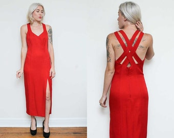 Bombshell Dress // Red Fitted Gown // 1980s Exclusively Gantos Sexy Criss Cross Back Sleeveless Side Slit Jessica Rabbit Formal Size 8 10