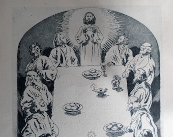 Artistic engraving of the Holy Supper