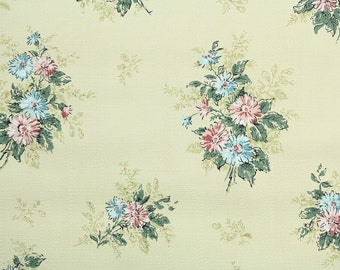 1960s Vintage Wallpaper by the Yard - Retro Pink and Blue Flowers on Yellow-Green, Floral Wallpaper