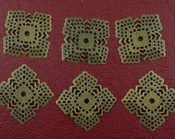 six 22mm square antique brass filigree findings
