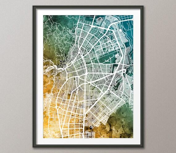 cali map cali colombia city map art print 3181