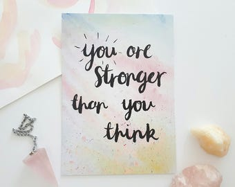 Strength and bravery quote postcard - You are stronger - Quote postcard for friend - Self belief quote - Gift for friend - Encouraging words