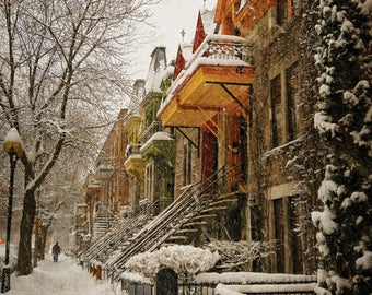 Montreal Art Architecture Art Photography Quebec Plateau Canada Winter Snow Snowfall Beautiful Romantic Wall Decor Print - The Great Silence