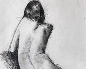 "Woman figure drawing large digital print from original charcoal drawing by artist Vernon Grant 15"" x 20"" Pensive, on quality Epson paper"
