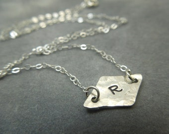 Personalized fine silver necklace, bridesmaid necklace, simple and petite