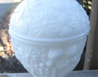 Vintage White Milk Glass Compote with Flower Relief, 1960's era, Pedestal Compote, Covered White Compote, Home Decor, Trinket Holder