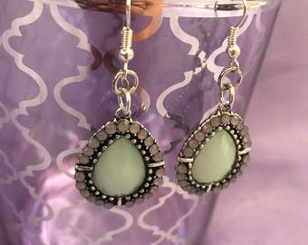 Light green/blue and Grey Dangle earrings