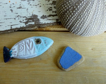 turquoise blue fish and white - ceramic - decor marine art mosaic door knives