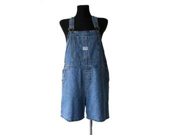 Vintage Women's Blue Denim Jean Shorts Overalls Jumpsuit Medium Size