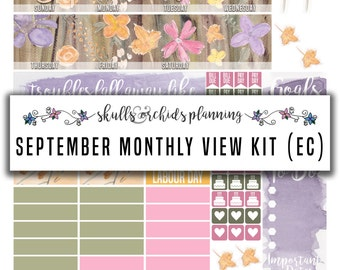50% OFF! ERIN CONDREN September 2016 Monthly View Kit – Printable Planner Stickers