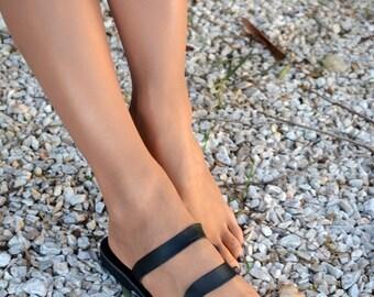 Black sandals, Black leather sandals, Slip on sandals, Black slides, Greek sandals ''Thasos''