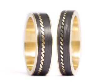 18ct gold ring and Carbon Fiber. Wedding band. Comfortable flat rings. Water resistant. (04704_5N6N)