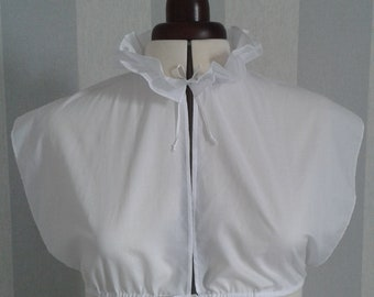 Handsewn Regency/Jane Austen chemisette with double ruffled collar in cotton lawn
