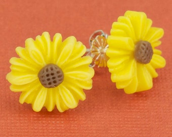 Sunflower Post Earrings 13mm Set on Sterling Silver