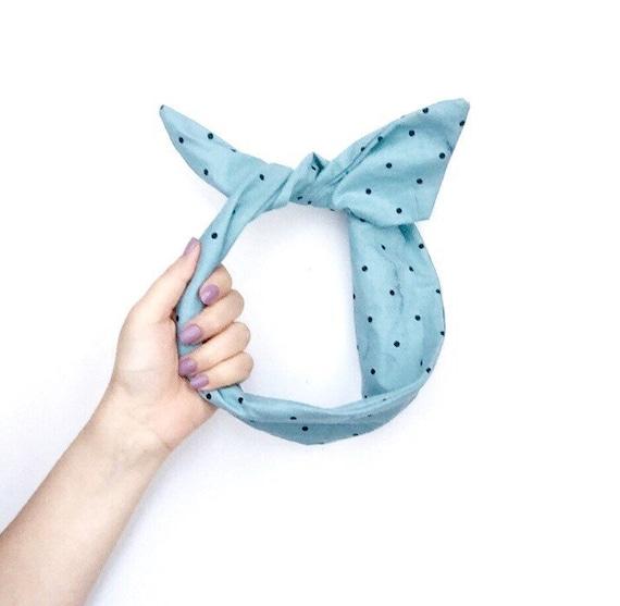 Blue Polka Dot Wire Headband Retro Headband Scarf bandana