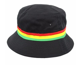 Cool Rasta stripe Cotton Bucket hat (Black)