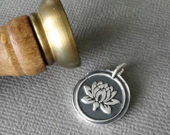 Lotus Pendant, Fine Silver Flower Pendant, Wax Seal Pendant, Symbolism, Yoga, Meditation, Journey, Spiritual Jewellery, Solid Silver